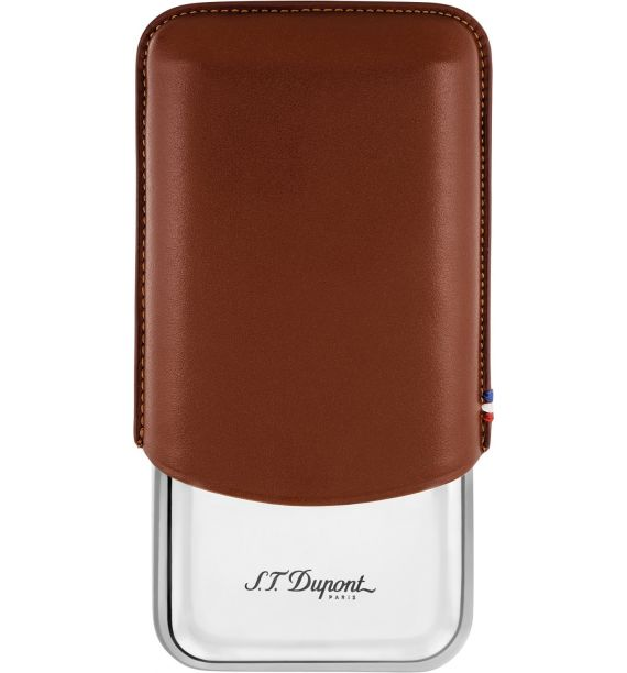 DUPONT ETUI METAL 3 CIGAR MARRON 183021