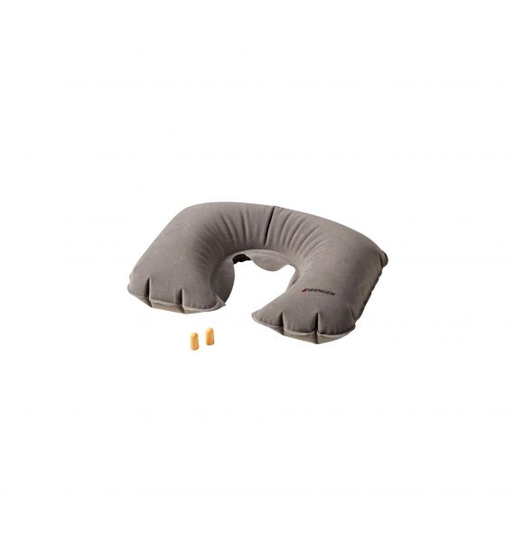 Wenger Inflatable Neck Pillow & Earplugs, Grey (R) 604585