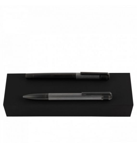 Set Hugo Boss Explore Brushed Grey Ballpoint Pen and Roller, Brass, HPBR003H