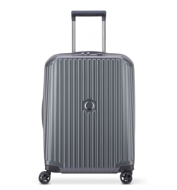 DELSEY SECURITIME ZIP 55CM SLIM 4 DOUBLE WHEELS CABIN TROLLEY CASE-ANTHRACITE 00217380301